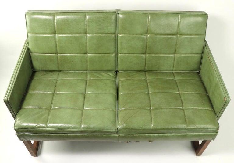 Leather Loveseat Sofa by Gunlocke For Sale 5