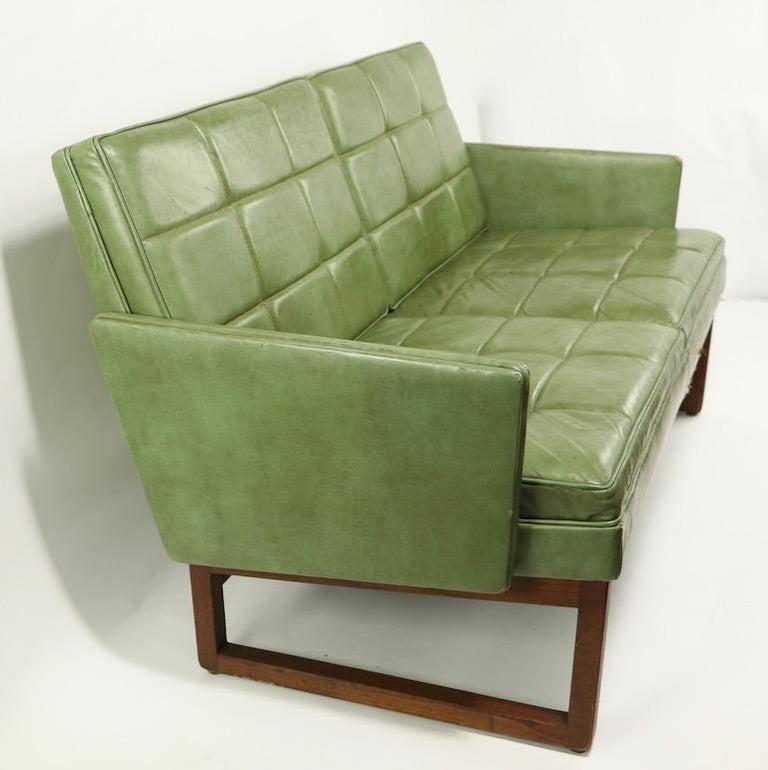 Leather Loveseat Sofa by Gunlocke For Sale 7