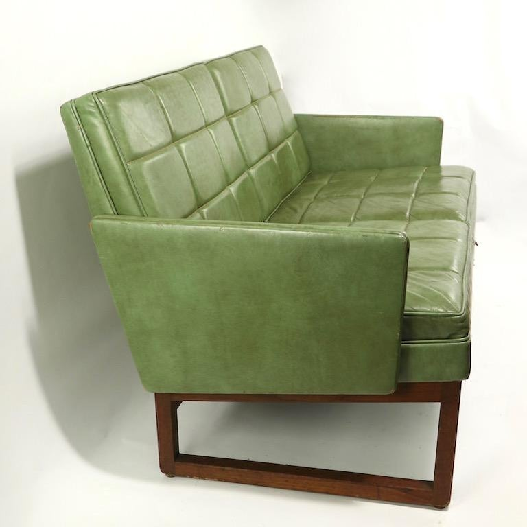 Leather Loveseat Sofa by Gunlocke For Sale 8