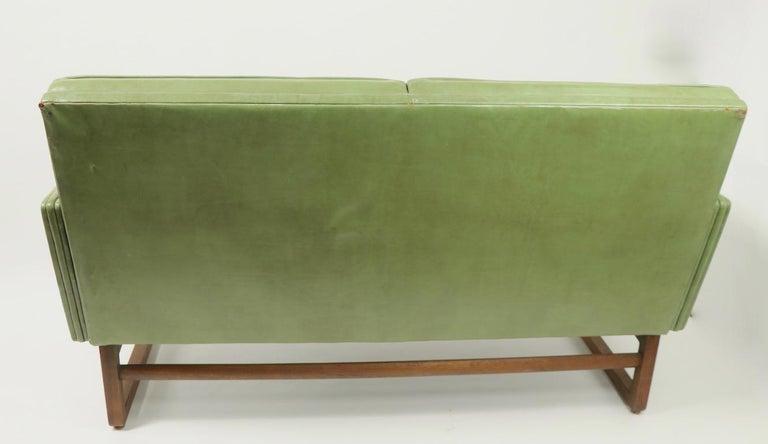 Leather Loveseat Sofa by Gunlocke For Sale 11