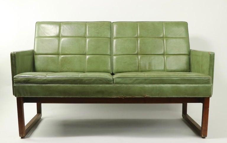Art Deco Leather Loveseat Sofa by Gunlocke For Sale
