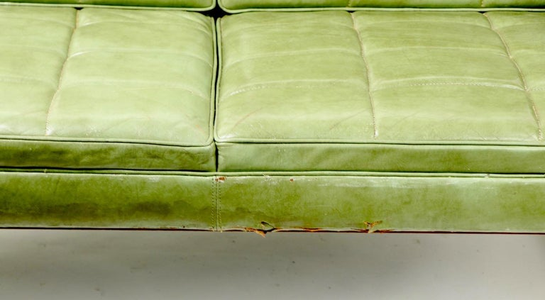 Leather Loveseat Sofa by Gunlocke In Fair Condition For Sale In New York, NY