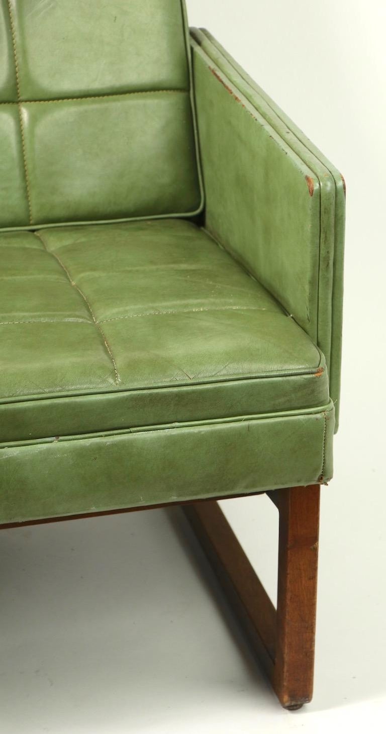 20th Century Leather Loveseat Sofa by Gunlocke For Sale