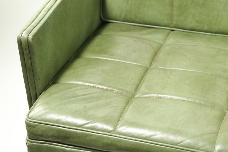 Leather Loveseat Sofa by Gunlocke For Sale 2