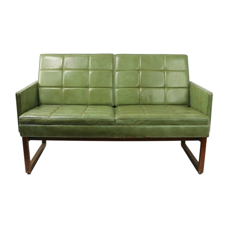 Leather Loveseat Sofa by Gunlocke For Sale