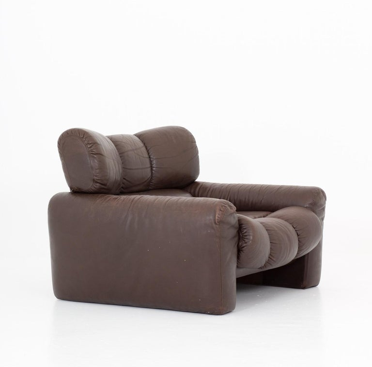 Rare lounge chair designed by by Tongiani Stefanos for Elleduemila, manufactured on license by Ikea, 1973. This chair is upholstered in brown leather and is constructed with a high sense of quality and design.   Condition: Very good original