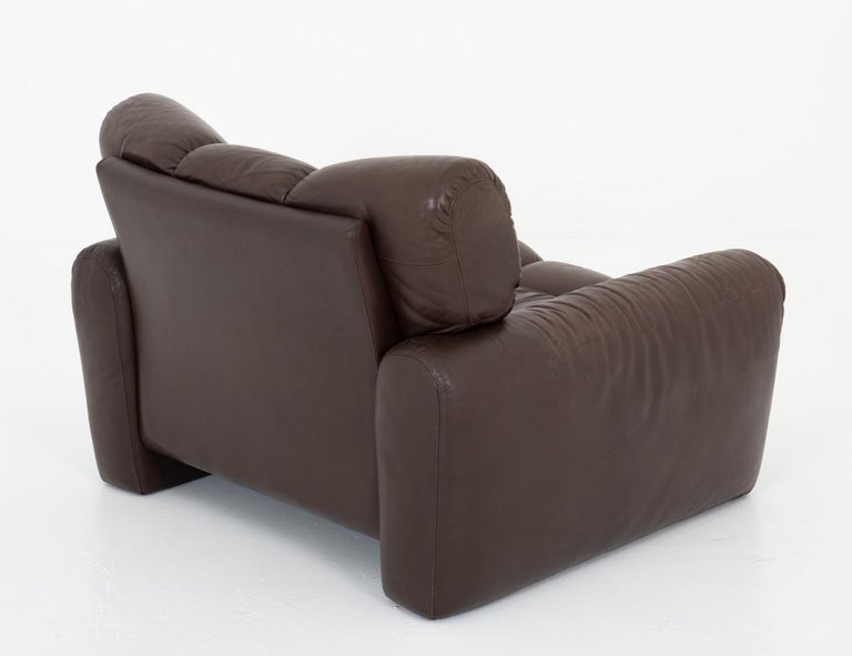 Leather Lunge Chair by Tongiani Stefanos, Italy In Good Condition For Sale In Karlstad, SE
