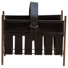 Leather Magazine Rack