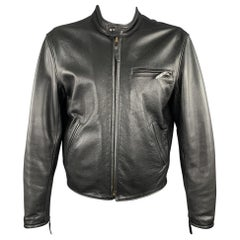 LEATHER MAN Size 46 Black Leather Tab Collar Zip Biker Jacket