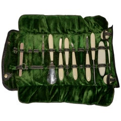 Leather Manicure Set with Vegetarian Ivory Handles