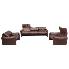 Leather Maralunga Sofa Set by Vico Magistretti for Cassina, 1973