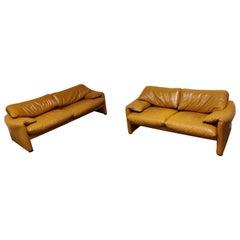 Leather Maralunga Sofa Set by Vico Magistretti for Cassina, 1973