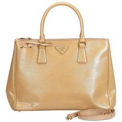 Leather Medium Saffiano Lux Double Zip Galleria Satchel w Dust Bag Authenticity