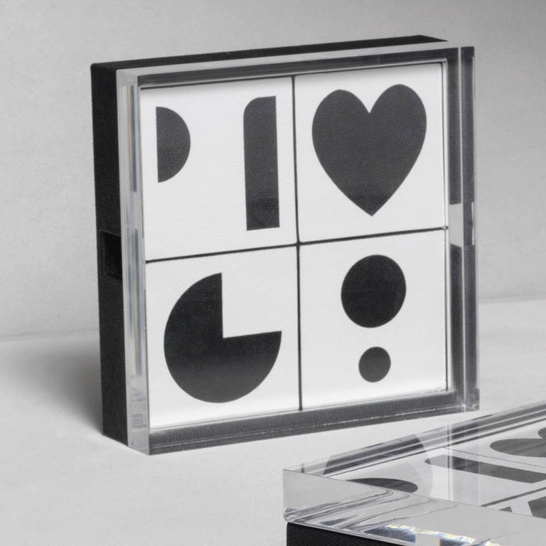 Bauhaus Leather Memory Game with 20 Cards For Sale