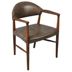 Leather Midcentury Danish Chair by Kurt Olsen