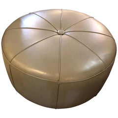 Leather Modern Mint Ottoman or Poof in Pie Form