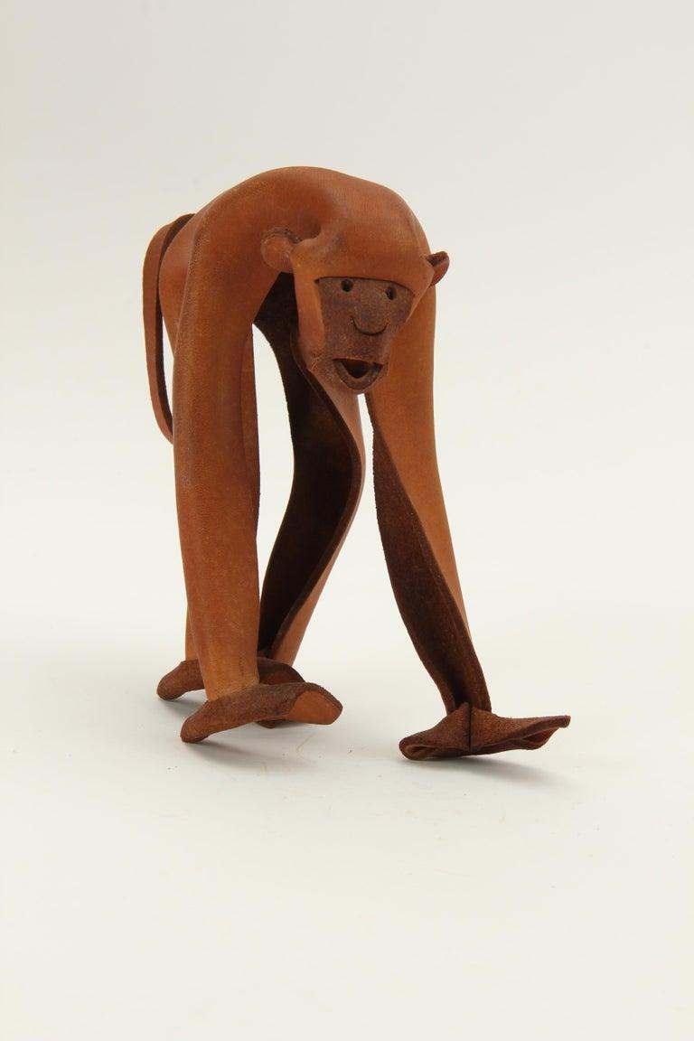 Mid-Century Modern Leather Monkey by Deru For Sale