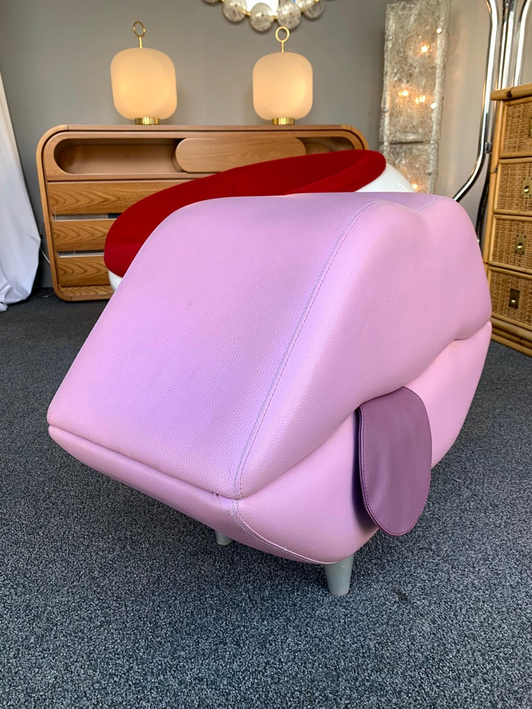 Leather Mouth Pouf Stool, Italy, 1990s For Sale 1