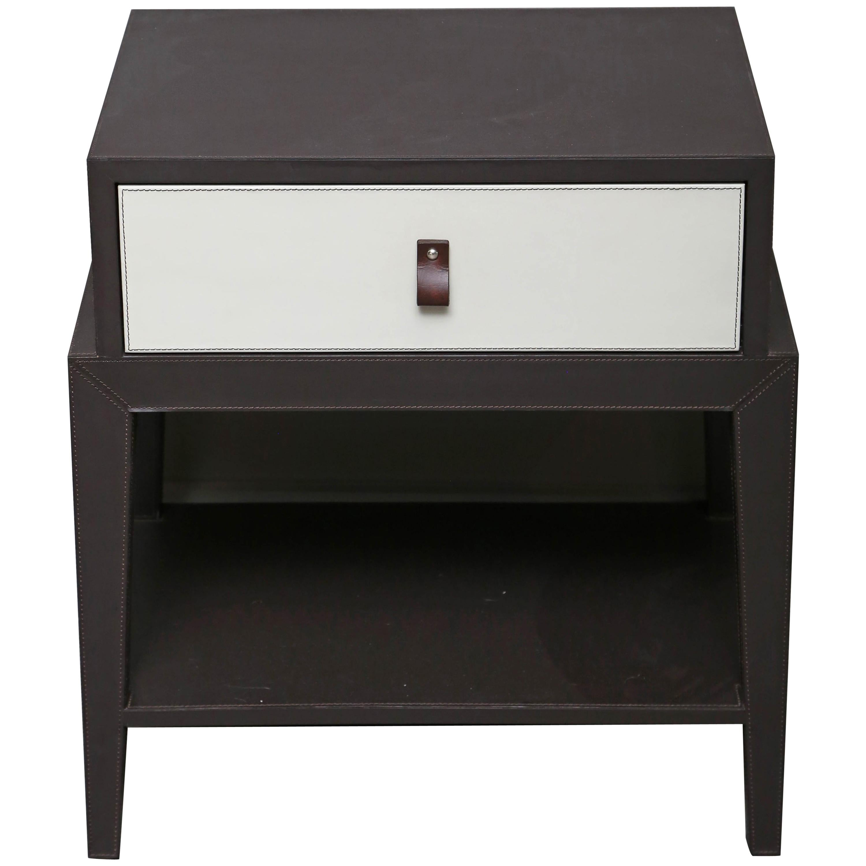 Leather Nightstand Or Side Table By Serge De Troyer Italy