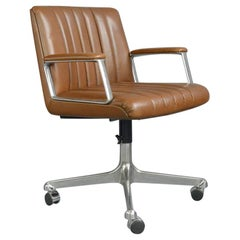 Leather Office Chair by Osvaldo Borsani for Tecno Milano, circa 1970s