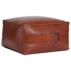 Leather Ottoman in Camel, Large, Talabartero Collection