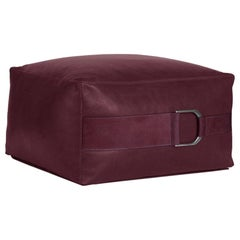 Leather Ottoman in Solid Berry, Large, Talabartero Collection