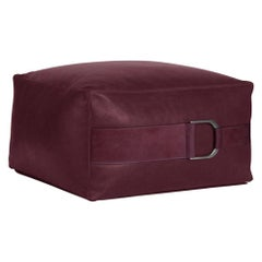 Leather Ottoman in Solid Berry, Small, Talabartero Collection