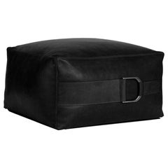 Leather Ottoman in Solid Black, Large, Talabartero Collection
