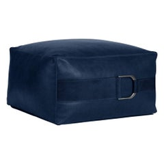 Leather Ottoman in Solid Cobalt, Small, Talabartero Collection