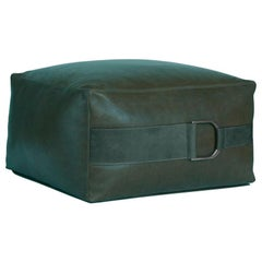 Leather Ottoman in Solid Emerald Green, Large, Talabartero Collection