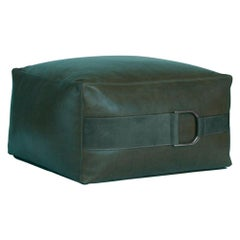 Leather Ottoman in Solid Emerald Green, Small, Talabartero Collection