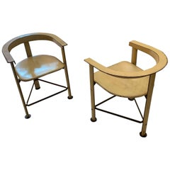 Leather Pair Side Chairs, Morocco, 1970s