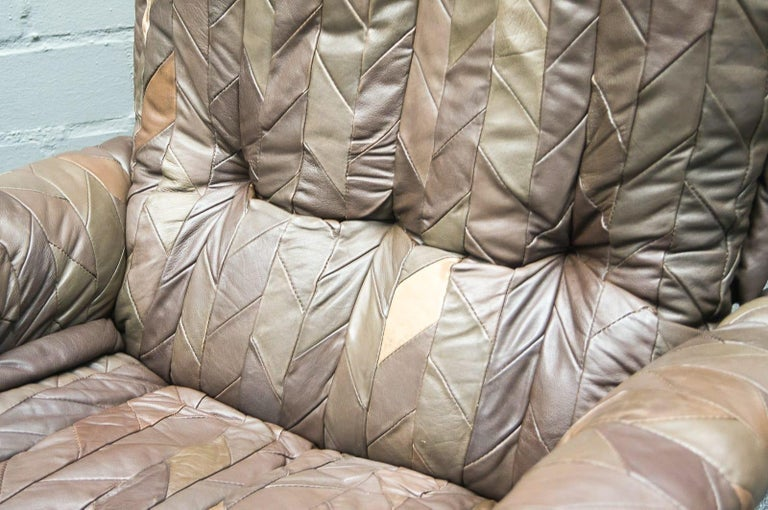 Leather Patchwork Armhair Cavaliere & Ottoman, André Vandenbeuck for Stässle For Sale 3