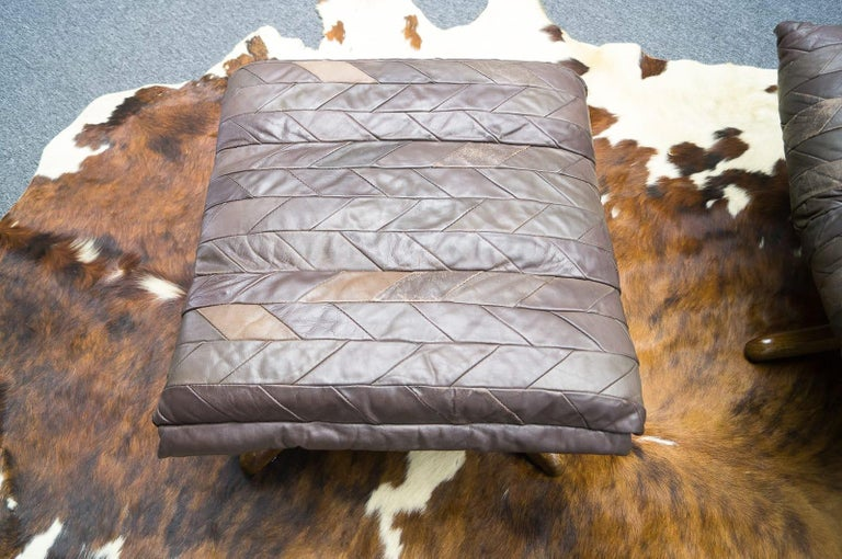 Leather Patchwork Armhair Cavaliere & Ottoman, André Vandenbeuck for Stässle For Sale 5