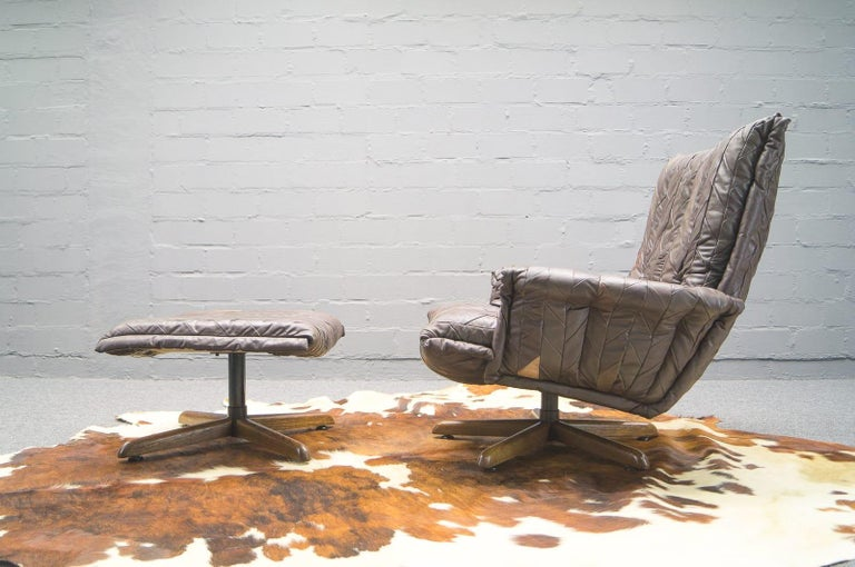 Mid-Century Modern Leather Patchwork Armhair Cavaliere & Ottoman, André Vandenbeuck for Stässle For Sale