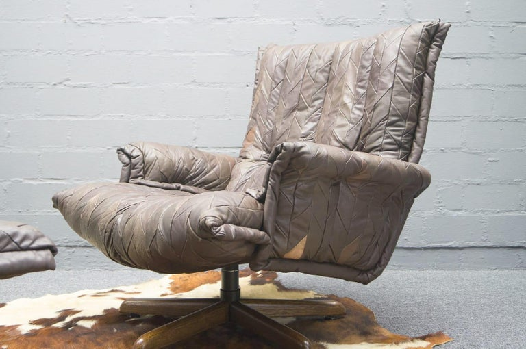 Swiss Leather Patchwork Armhair Cavaliere & Ottoman, André Vandenbeuck for Stässle For Sale