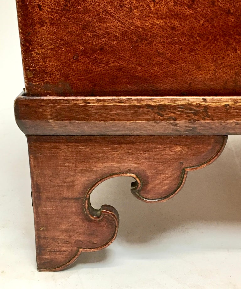 Leather Pig Skin Trunk on Stand Coffee Table For Sale 3