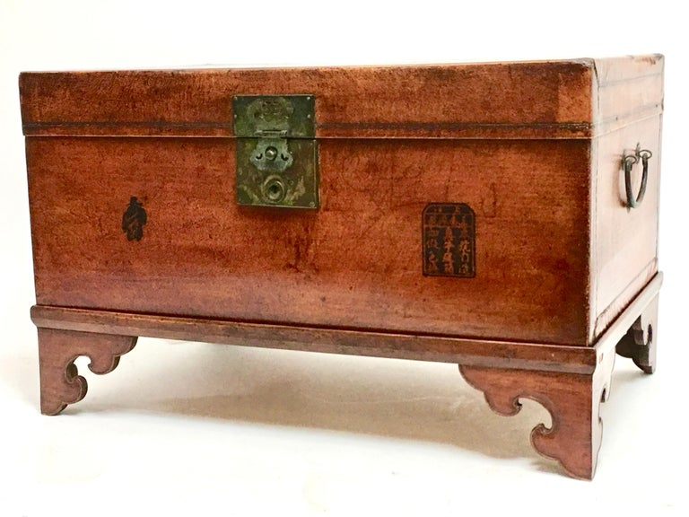 Leather Pig Skin Trunk on Stand Coffee Table For Sale 5