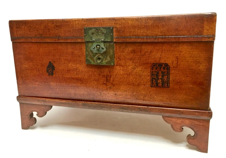 19th Century Leather Pig Skin Trunk on Stand Coffee Table For Sale