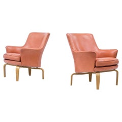 """Leather """"Pilot"""" Lounge Chairs by Arne Norell, Sweden"""