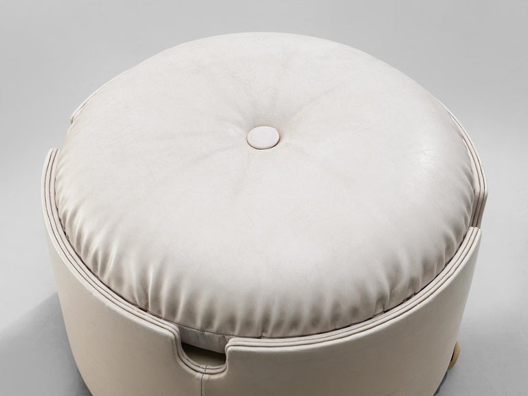 Italian Leather Pouf by Luigi Massoni for Poltrona Frau