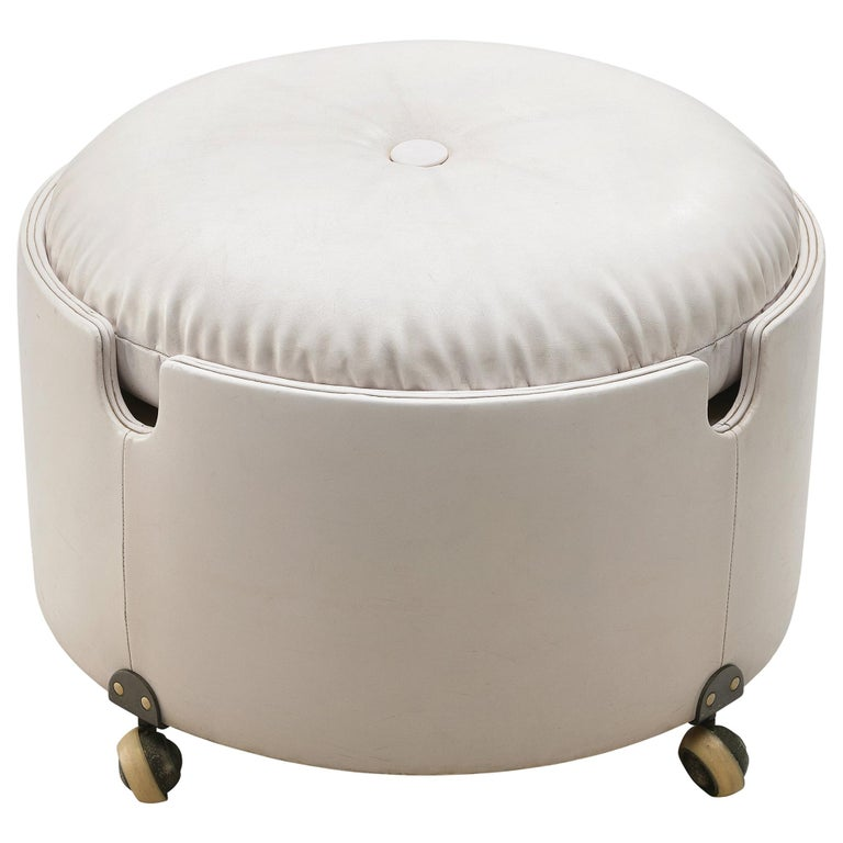 Leather Pouf by Luigi Massoni for Poltrona Frau