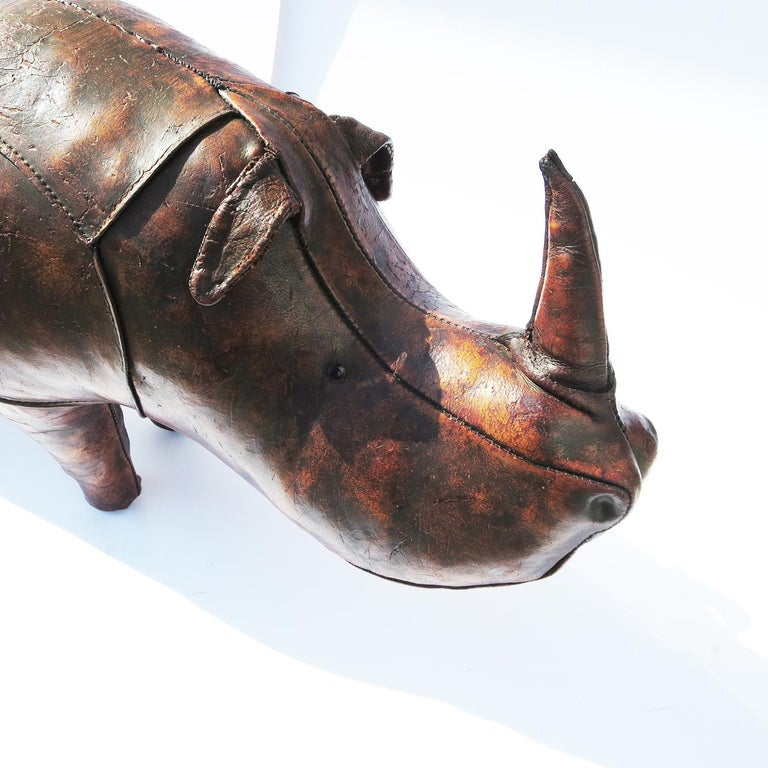 Leather Rhinoceros Footstool by Dimitri Omersa for Abercrombie & Fitch In Fair Condition For Sale In North Hollywood, CA