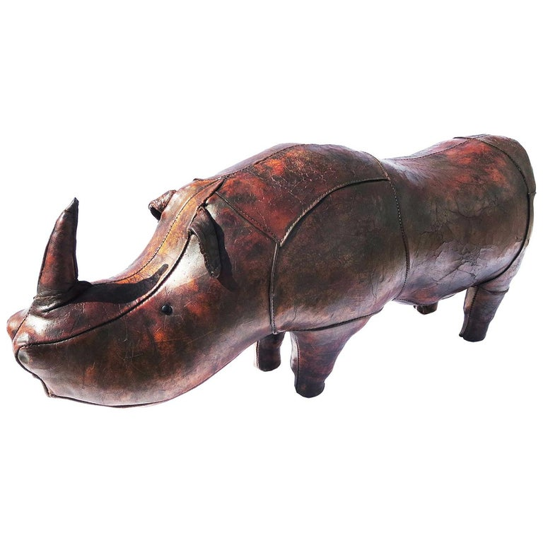 Leather Rhinoceros Footstool by Dimitri Omersa for Abercrombie & Fitch For Sale