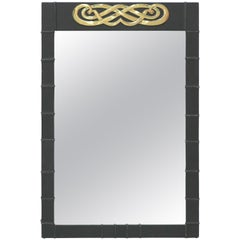 Leather Covered Mirror Interwoven Motif Brass Medallion