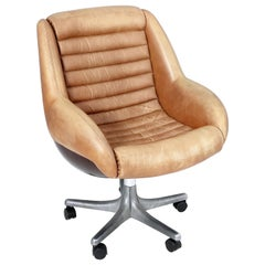 Leather Rolling Chair by Cesare Casati produced by Arflex, Italy, 1960s
