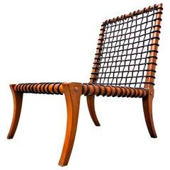 Leather Rope Chair by T.H. Robsjohn-Gibbings Klismos for Saridis