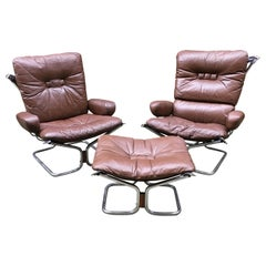 Leather, Rosewood and Chrome Westnofa Armchairs and Ottoman