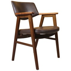 Leather and Rosewood Erik Kirkegaard Desk Chair