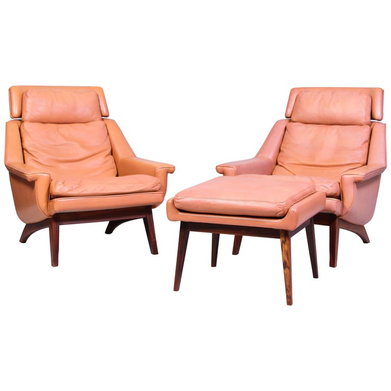 Leather & Rosewood Lounge Chairs and Ottoman by Werner Langenfled, Denmark 1960s For Sale